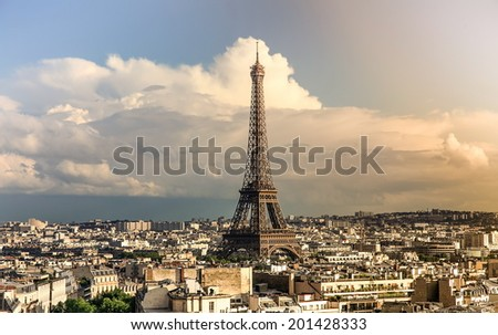 Sunset in Paris, with the Eiffel Tower  - stock photo