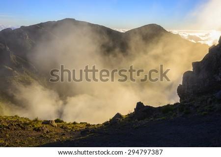 Sunset in Pico do Arieiro mountain, Madeira (Portugal) - stock photo