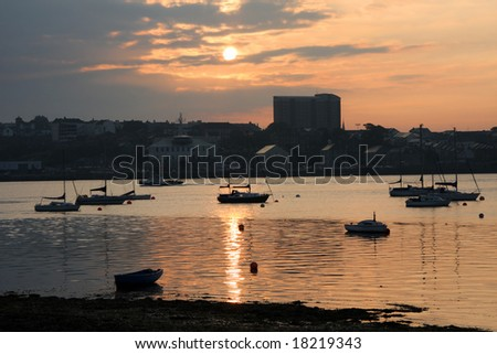 sunset in Plymouth, UK - stock photo