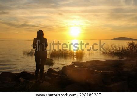 Sunset in Porto Alegre, Brazil - stock photo