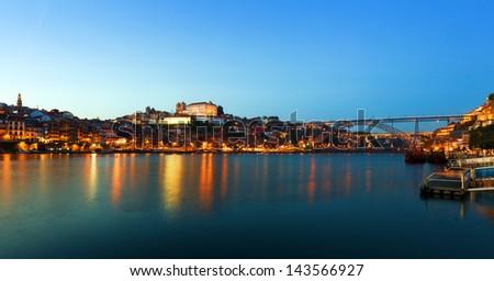 Sunset in Porto, Portugal - stock photo
