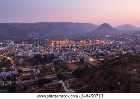 Sunset in Pushkar City, India - stock photo
