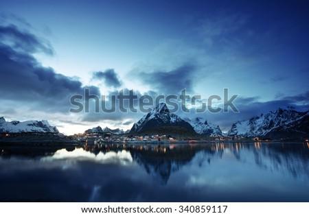 sunset  in Reine Village, Lofoten Islands, Norway - stock photo
