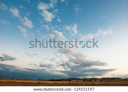 Sunset in sardinian countryside - stock photo