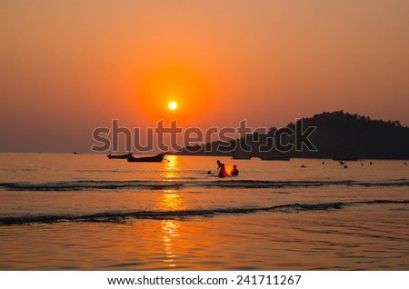 sunset in south india - stock photo