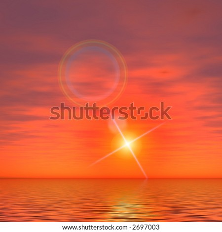 Sunset in space. - stock photo