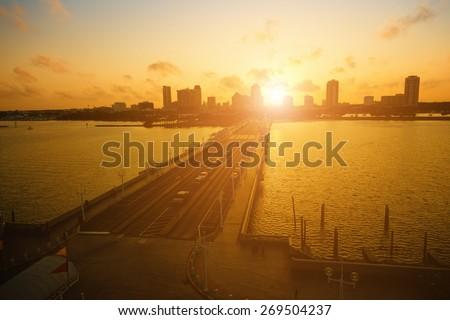 Sunset in St. Petersburg, Florida - stock photo