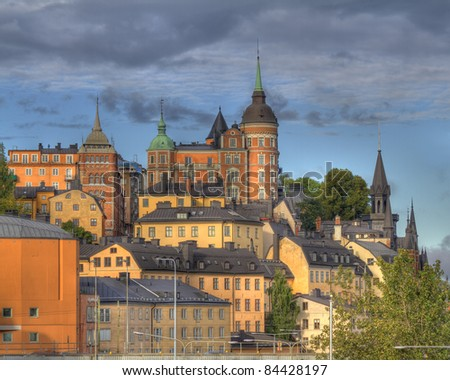 Sunset in Stockholm,Sweden - stock photo