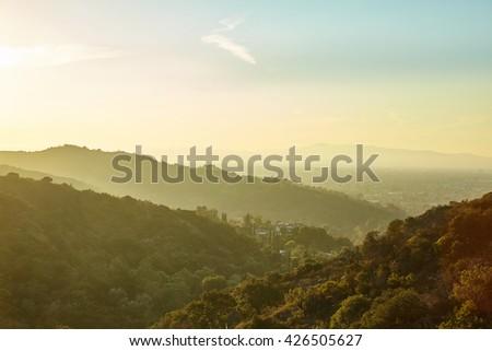 Sunset in Sun Fernando Valley Los Angeles California  - stock photo