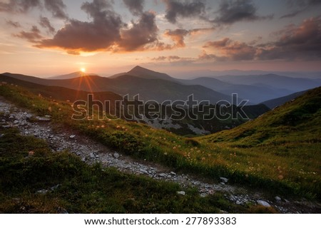 Sunset in the Carpathian mountains, Ukraine  - stock photo