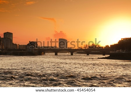 Sunset in the city - stock photo