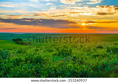 Sunset in the Flint Hills of Kansas with Cattle grazing in the far background. - stock photo