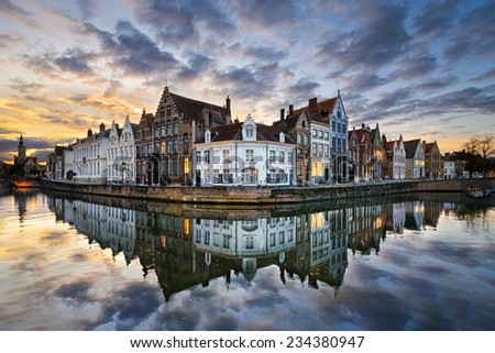 Sunset in the historic city of Bruges, Belgium - stock photo