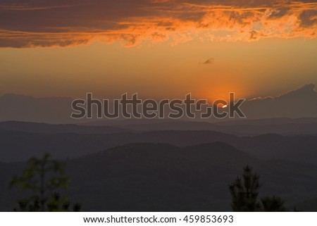 Sunset in the Istrian hills - stock photo