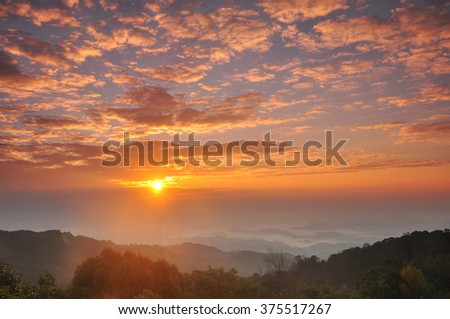 sunset in the mountains landscape - stock photo
