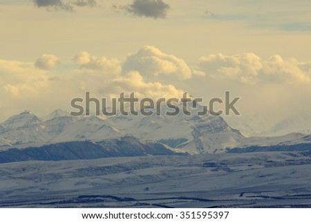 sunset in the mountains, Northern Caucasus, Pyatigorsk, Russia. - stock photo