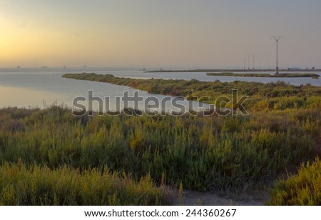 sunset in the natural reserve of San Javier, Spain - stock photo