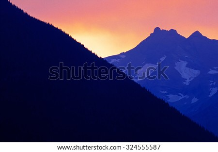 Sunset in the Rocky mountains - stock photo