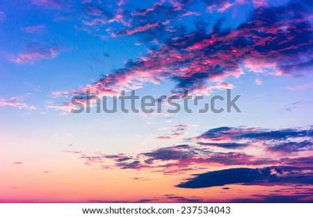 Sunset in the Sky Evening Cloudscape  - stock photo