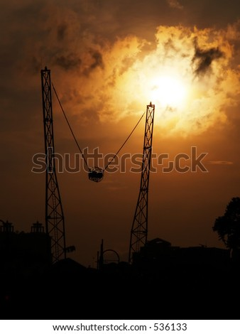 Sunset in the Theme Park - stock photo