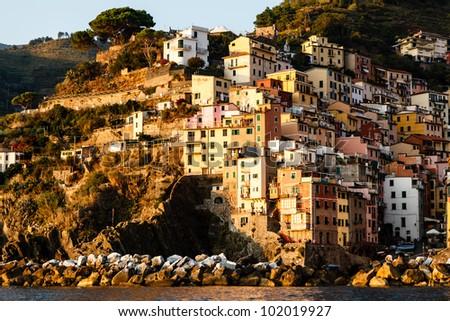Sunset in the Village of Riomaggiore in Cinque Terre, Italy - stock photo