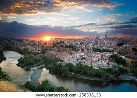 Sunset in Toledo, Castile-La Mancha, Spain - stock photo