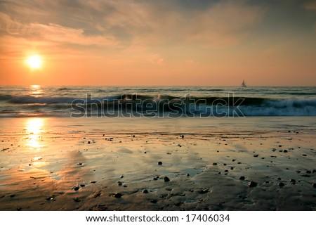 sunset in Warnemuende - stock photo