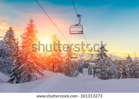Sunset in winter landscape  in mountains Julian Alps-Europe - stock photo