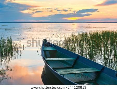 Sunset. Lake Pleshcheyevo at Pereslavl-Zalessky. Jaroslavl region of Russia - stock photo