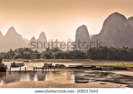 Sunset landscape of the Li river, between Guilin ans Yangshuo, China - stock photo