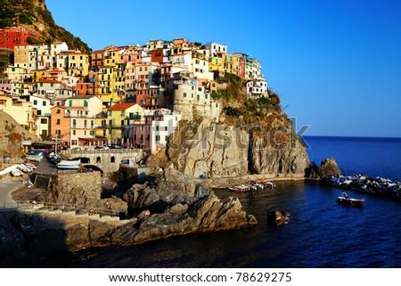 Sunset light in Manarola, Cinque Terre, Italy - stock photo