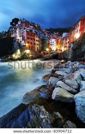 Sunset light in Riomaggiore Village, Cinque Terre, Italy - stock photo
