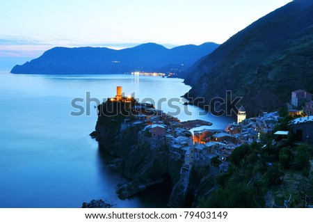 Sunset light in Vernazza, Cinque Terre, Italy - stock photo
