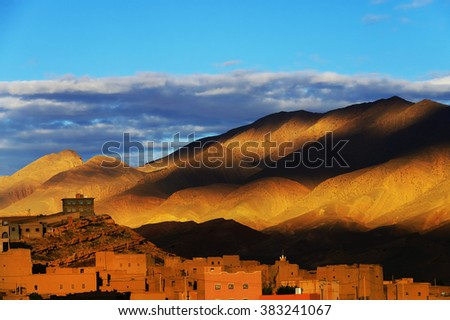 Sunset light over the Atlas Mountains, Morocco, Africa - stock photo