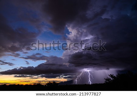 Sunset Lightning - stock photo