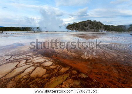 Sunset Midway Geyser basin, Yellowstone National Park, Wyoming, USA - stock photo