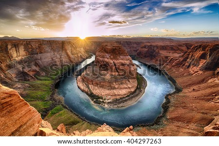 Sunset moment at Horseshoe bend Grand Canyon. Colorado River. Grand Canyon National Park. Arizona USA. Grand Canyon famous view point. - stock photo