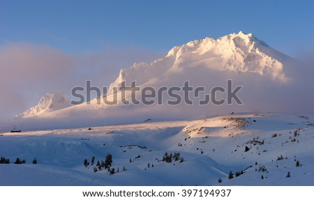 Sunset Mount Hood Cascade Range Ski Resort Area - stock photo