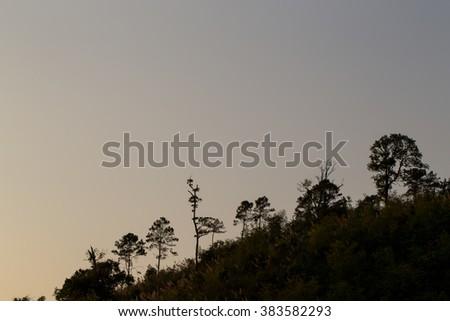 Sunset mountain landscape in thailand - stock photo