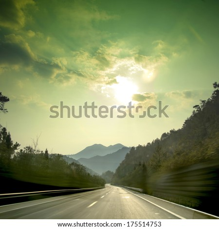 Sunset Mountain Road - stock photo