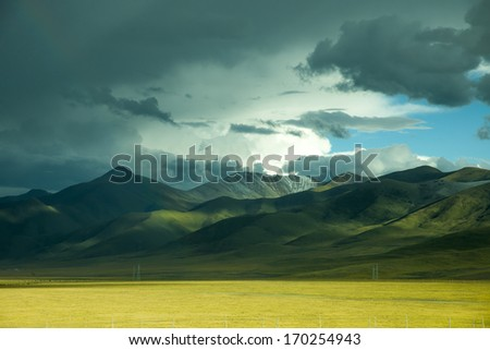 Sunset mountain scenery - stock photo