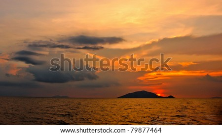 Sunset near the Mekong delta, Vietnam - stock photo