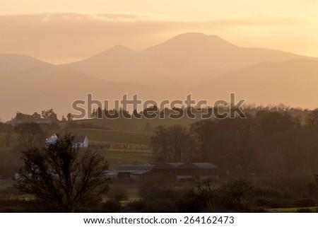 Sunset near the Rock of Cashel. County Tipperary, Ireland - stock photo