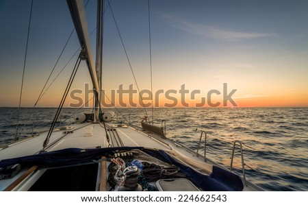 Sunset observation from the sailing boat deck - stock photo