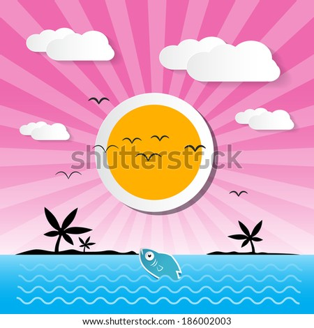 Sunset Ocean Background with Sun, Palm, Island, Clouds and Fish - stock photo