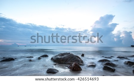 SUNSET OF CORAL REEF COASTLINE THAILAND - stock photo