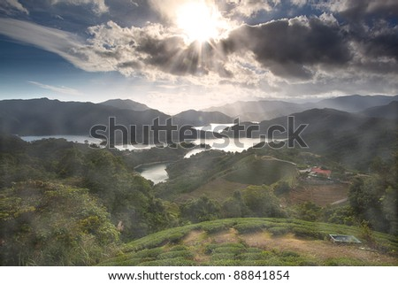 Sunset of Tanyao Ln., Beiyi Rd., New Taipei City, Taiwan (R.O.C.) - stock photo