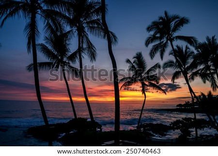 Sunset off the Big Island of Hawaii - stock photo