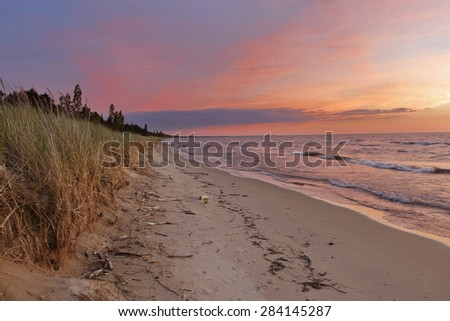 Sunset on a Lake Huron Beach - Pinery Provincial Park, Ontario, Canada - stock photo