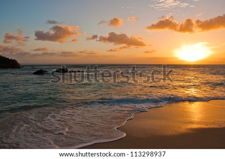 Sunset on a Perfect Beach at a Luxury Resort, Dominican Republic - stock photo